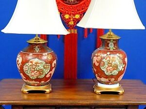 Pair Of Vintage Porcelain Vase Lamps Satsuma Chinese Japanese 28
