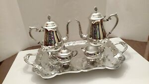Fb Rogers 5 Piece Silver Plated Coffee Tea Creamer Sugar And Tray Set