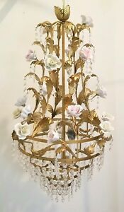 Vintage Shabby Cottage Chic French Pastel Roses Crystal Chandelier Light