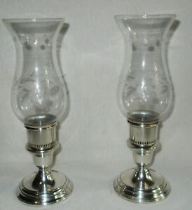Pair Vintage Sterling Silver Etched Glass Hurricane Candle Holders