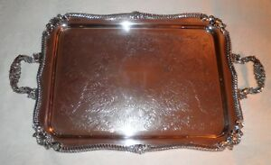 Antique Gorgeous Silverplate On Copper Footed W Handles Butler S Serving Tray