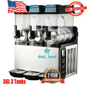 36l 3 Tanks Commercial Frozen Drink Slush Slushy Machine Margarita Slurpee Black