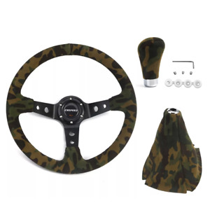 14 350mm 6 Bolt Steering Wheel Suede Leather Gear Shift Knob Cover Camouflage