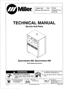 Miller Syncrowave 300 500 Service Technical Manual