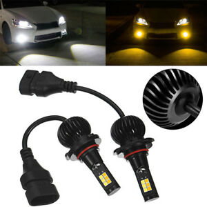 2pcs 9005 9006 Led Replacement Fog Light Bulbs White Yellow Dual Color 1300lm Us