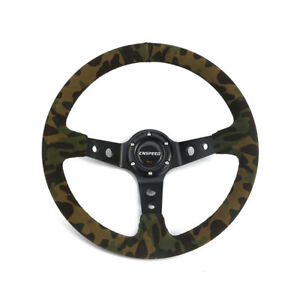 14 350mm Deep Dish Steering Wheel 6 Bolt Camouflage Suede Leather Horn Button
