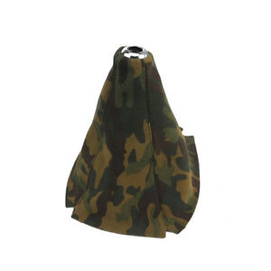 Suede Leather Manual Gear Stick Shift Knob Cover Boot Gaiter Cover Camouflage