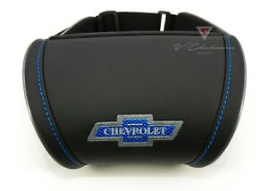 Car Seat Headrest Pillow Leather Neck Rest Cushion For Chevrolet 100 Years Logo