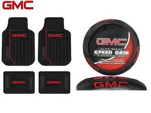 5 Pc Gmc Elite Front rear Rubber Floor Mats With Steering Wheel Cover Fast Ship
