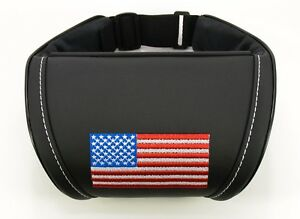 Car Seat Headrest Pillow Leather Neck Rest Cushion Us Flag Embroidery
