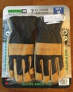 Hestra Job Work Gloves 2 Pair Size 8 All Leather Waterproof 3m Thinsulate M