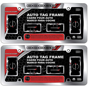 New Dodge Chrome License Plate Frame W Reversible Emblem Pair
