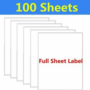 100 8 5 X 11 Full Sheet Shipping Mailing Labels Blank Self Adhesive Laser Inkjet