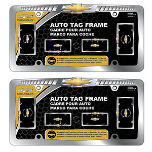 New Chevy Chrome License Plate Frame W Reversible Emblem pair