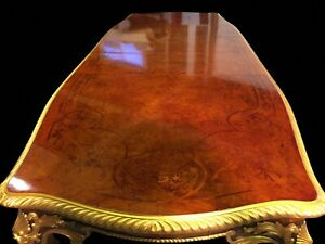 Gorgeous 10 9ft Grand Burr Walnut Marquetry Dining Table Pro French Polished