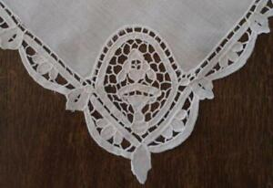 12 Large Vintage Linen Napkins Point Venise Needle Lace Creamy White Dinner Set
