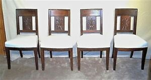 Antique Set Of 19th C French Regency Carved Mahogany Chairs By George Jacob