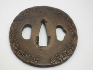 Antique Japanese Sword Tsuba Red Copper Nanakoji Flower Motif Edo Period
