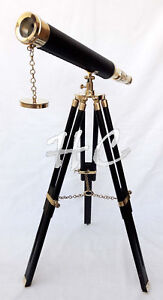 Nautical Brass Leather Telescope Black Tripod Wooden Stand Maritime Collection