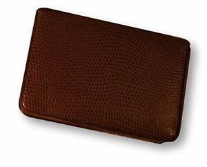 Budd Leather Company Lizard Printed Leather Business Card Case Cognac 552282l