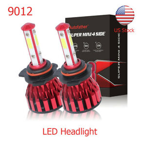 Pair Car 9012 Hir2 Led Headlight Bulbs High Low Beam Kit 120w 6500k 4 Sides Cob