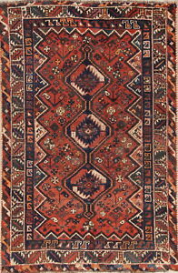 Old Antique Tribal Nomad Handmade Wool 4x6 Oriental Qashqai Area Rug 5 6 X 3 8