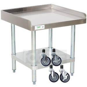 24 X 24 Heavy Equipment Stand W Casters Stainless Steel Work Table Commercial