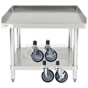 30 X 30 Heavy Equipment Stand W Casters Stainless Steel Work Table Commercial