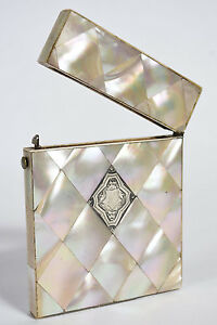 Antique Victorian Mother Of Pearl Calling Card Case W Sterling Silver Cartouche