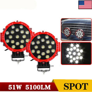 7inch 51w Round Led Work Lights Cree Spot Driving Offroad Atv Suv 4wd Truck Lamp