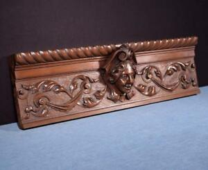 French Antique Deep Carved Architectural Panel Solid Walnut Wood W Face Salvage