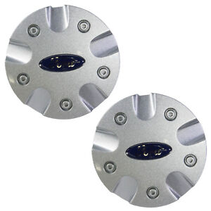 New Oem 00 01 Ford Focus 15 Wheel Silver Two Center Caps Hub Covers Blue Oval