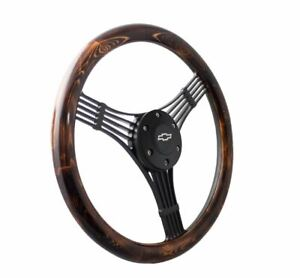 14 Matte Black Steering Wheel Flamed Pine Banjo 1 2 Chevy Horn Button