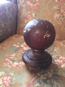 Salvaged Old Painted Oak Cannon Ball Newel Post Top Finial Part