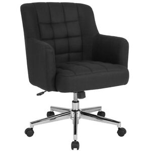 Laone Home And Office Upholstered Mid back Chair In Black Fabric