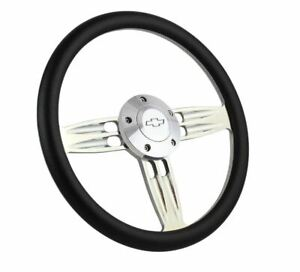 14 Polished Steering Wheel Black Wrap Chevy Horn Button 5 hole