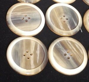 Lot Of 4 Large Vintage Nice Celluloid Horn Look Two Faced Buttons