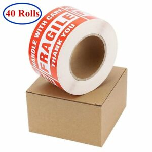 40 Roll Of 500 3x5 Fragile Stickers Handle With Care Shipping Warning Labels Red