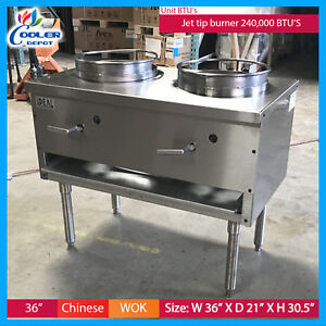 36 Commercial 2 Burner Wok Range Double Stir Fry Chinese Food usa New Ideal