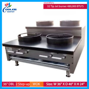 36 Chinese Wok Countertop Gas Commercial Range Jet 4 Burner Stove Kitchen Cook