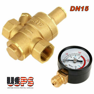 Dn15 1 2 Brass Water Pressure Reducing Regulator Valve Reducer W Gauge Meter