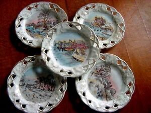 5pcs Old Paris Style Hand Painted Reticulated Luncheon Salad Desert Plate