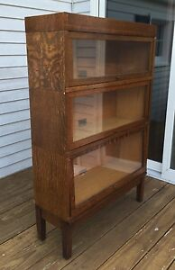 Globe Wernicke Mission Oak 5 Piece 3 Stack Barrister Bookcase Exc Cond