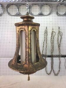 Huge Mid Century Modern Cast Metal Hanging Foyer Ceiling Light Lamp Exc Cond