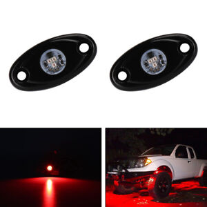 2x Red 9w Cree Led Rock Light Trail Kit For Jeep Off Road Atv Truck Underglow