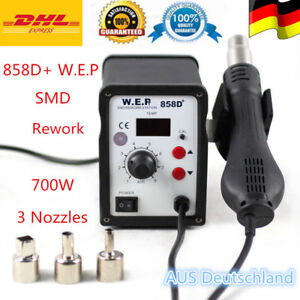 858d Rework Station Iron Hot Air Gun Smd Soldering Welder Tool 3 Nozzles Eu