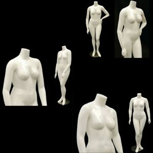 Female Full Body Plus Size Headless Mannequin set Of 3 Glossy White