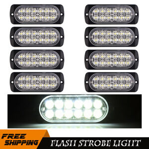 8pcs 12led White Light Car Flash Emergency Strobe Flashing Lamp Bulb