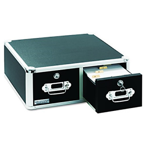 Vaultz Locking 4 X 6 Index Card Cabinet Double Drawer Black Vz01395