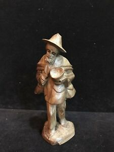 Carved Wood Man Figurine Souvenir From Swiss Austrian 1950 S 6 High